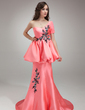 Trumpet/Mermaid One-Shoulder Court Train Satin Prom Dress With Beading Appliques Lace Sequins Cascading Ruffles (018018816)