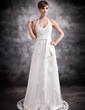 A-Line/Princess Halter Court Train Tulle Wedding Dress With Beading Appliques Lace (002016896)