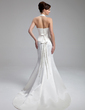 Trumpet/Mermaid Halter Court Train Satin Wedding Dress With Ruffle Bow(s) (002000058)