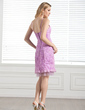 Sheath/Column Knee-Length Lace Bridesmaid Dress (007005289)