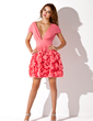 A-Line/Princess V-neck Short/Mini Chiffon Homecoming Dress With Ruffle (022009968)