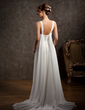 A-Line/Princess V-neck Watteau Train Chiffon Wedding Dress With Ruffle Beading (002011631)