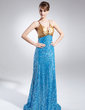 A-Line/Princess V-neck Sweep Train Charmeuse Sequined Evening Dress With Ruffle Beading (017015771)
