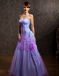 A-Line/Princess Sweetheart Floor-Length Tulle Holiday Dress With Ruffle Feather Appliques Lace (020025990)
