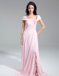 A-Line/Princess Off-the-Shoulder Chapel Train Chiffon Evening Dress With Ruffle Flower(s) Split Front (017014899)