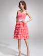 A-Line/Princess Strapless Knee-Length Chiffon Bridesmaid Dress With Sash Beading Cascading Ruffles (007000922)