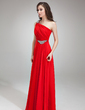 A-Line/Princess One-Shoulder Floor-Length Chiffon Evening Dress With Ruffle Beading (017018785)