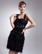 A-Line/Princess Sweetheart Knee-Length Tulle Feather Cocktail Dress With Ruffle Beading Appliques Lace (016008540)