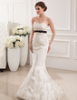 Trumpet/Mermaid Sweetheart Sweep Train Tulle Wedding Dress With Sash Beading Appliques Lace Bow(s) (002019531)