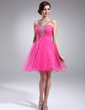 A-Line/Princess V-neck Short/Mini Tulle Homecoming Dress With Ruffle Beading (022010198)