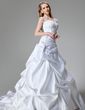 A-Line/Princess Chapel Train Satin Wedding Dress With Embroidered Sequins (002000436)