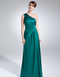 A-Line/Princess One-Shoulder Floor-Length Charmeuse Mother of the Bride Dress With Ruffle (008016028)