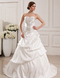 Ball-Gown Sweetheart Court Train Taffeta Wedding Dress With Embroidered Ruffle Beading Sequins (002012765)