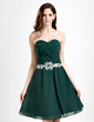 A-Line/Princess Sweetheart Knee-Length Chiffon Homecoming Dress With Ruffle Beading Appliques Lace (022015847)