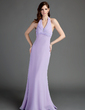Trumpet/Mermaid Halter Floor-Length Chiffon Bridesmaid Dress With Ruffle Beading (007001103)