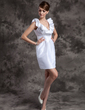 Sheath/Column V-neck Short/Mini Taffeta Wedding Dress With Cascading Ruffles (002014989)