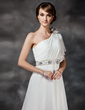 A-Line/Princess One-Shoulder Chapel Train Chiffon Wedding Dress With Ruffle Beading Flower(s) (002017386)