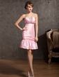 Sheath/Column Strapless Knee-Length Taffeta Homecoming Dress With Ruffle Beading (022014881)