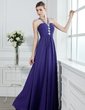 A-Line/Princess V-neck Floor-Length Chiffon Prom Dress With Ruffle Beading (018004956)