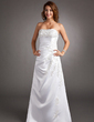 A-Line/Princess Strapless Sweep Train Satin Wedding Dress With Beading Appliques Lace (002016350)