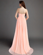 Empire Sweetheart Sweep Train Chiffon Bridesmaid Dress With Ruffle (007015681)