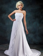 A-Line/Princess Sweetheart Court Train Chiffon Wedding Dress With Beading Appliques Lace Cascading Ruffles (002022595)