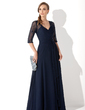 A-Line/Princess V-neck Floor-Length Chiffon Lace Mother of the Bride Dress With Ruffle Beading Sequins (008005969)
