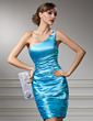 Sheath/Column One-Shoulder Knee-Length Charmeuse Cocktail Dress With Ruffle Beading (016008535)