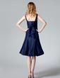 A-Line/Princess Square Neckline Knee-Length Taffeta Bridesmaid Dress With Ruffle Bow(s) (007000959)