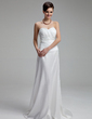 Sheath/Column Sweetheart Court Train Taffeta Wedding Dress With Ruffle Beading (002012165)