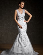 Trumpet/Mermaid V-neck Court Train Tulle Wedding Dress With Beading Appliques Lace Bow(s) (002011524)