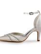 Satin Plastic Stiletto Heel Closed Toe Pompy Buty ślubne Z Klamra Rhinestone (047005368)