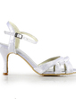Women's Satin Stiletto Heel Sandals Slingbacks With Buckle Ruffles (047020117)
