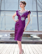 Sheath/Column V-neck Knee-Length Charmeuse Mother of the Bride Dress With Ruffle Beading Sequins Cascading Ruffles (008018930)