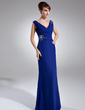 A-Line/Princess V-neck Floor-Length Chiffon Mother of the Bride Dress With Ruffle Beading (008015947)