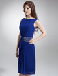 Sheath/Column Scoop Neck Knee-Length Chiffon Mother of the Bride Dress With Beading Cascading Ruffles (008006426)