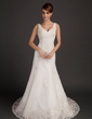 A-Line/Princess V-neck Chapel Train Tulle Wedding Dress With Beading Appliques Lace (002015557)