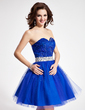 A-Line/Princess Sweetheart Short/Mini Tulle Sequined Homecoming Dress With Sash Beading (022019092)