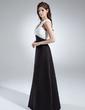 Empire-tyylinen V-kaula-aukko Lattiaa hipova pituus Sifonki Satiini Morsiusneitojen mekko jossa Rypytys (007001874)