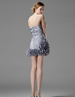Sheath/Column Strapless Short/Mini Taffeta Homecoming Dress With Ruffle Beading Flower(s) Sequins (022021054)