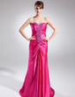A-Line/Princess Sweetheart Sweep Train Charmeuse Prom Dress With Ruffle Beading Sequins (018015870)