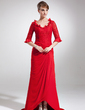A-Line/Princess V-neck Asymmetrical Chiffon Lace Mother of the Bride Dress With Cascading Ruffles (008005945)