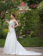 A-Line/Princess Sweetheart Cathedral Train Satin Wedding Dress With Ruffle Lace Beading (002000465)