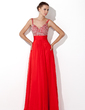 A-Line/Princess V-neck Floor-Length Chiffon Prom Dress With Ruffle Beading Sequins (018005105)