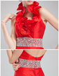 Trumpet/Mermaid Halter Court Train Taffeta Prom Dress With Beading Split Front Cascading Ruffles (018021082)