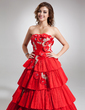 Ball-Gown Strapless Floor-Length Taffeta Quinceanera Dress With Beading Appliques Lace Flower(s) Cascading Ruffles Pleated (021016738)