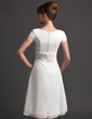 A-Line/Princess Sweetheart Knee-Length Chiffon Bridesmaid Dress With Ruffle Beading Bow(s) (007020743)