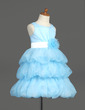 A-Line/Princess Knee-length Flower Girl Dress - Organza/Satin Sleeveless Scoop Neck With Sash/Flower(s) (010007781)