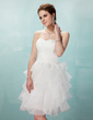 A-Line/Princess Sweetheart Knee-Length Organza Homecoming Dress With Cascading Ruffles (022020853)