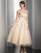A-Line/Princess Strapless Tea-Length Satin Tulle Wedding Dress With Ruffle Lace Beadwork Flower(s) (002014765)